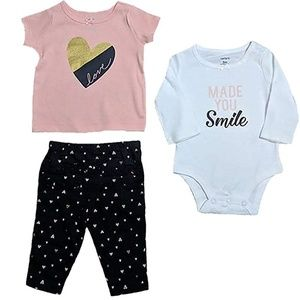 NWT Carter's Baby Girls 3-Piece Smile/Hearts Set